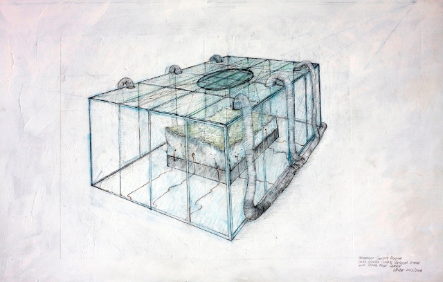 "Perma Frost Concept Drawing 1, 2005-2007: graphite and coloured pencil on acrylic and paper on panel, 24"" (h) x 36"" (w)"