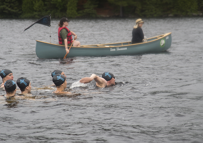 Tom Thomson Centennial Swim event documentation Site and temporally specific performance, Canoe Lake, Algonquin Park, July 8, 2017 (photo Andrew Wright)