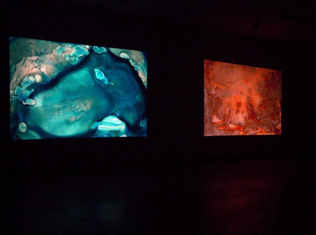 Physical Nature of Immateriality, 2005- 2008: installation view of projections of hand painted glass slides 2006 at WKP Kennedy Gallery, 2006.