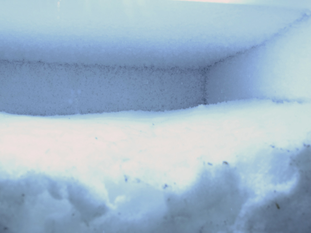 Sublimation Cube detail, 2012: snow, display freezer.