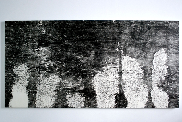 "Gnaw 3, 1996: relief print of porcupine gnawed plywood on panel, 48""(h)x 96""(w)"
