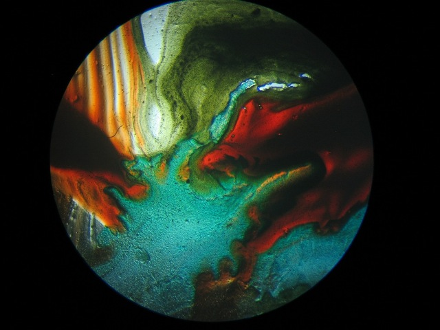Nature of Uncertainty (detail), 2007: microscopy view of detail of hand-painted microscopy slide.