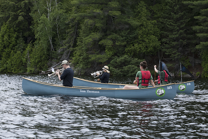 Tom Thomson Centennial Swim event documentation Site and temporally specific performance, Canoe Lake, Algonquin Park, July 8, 2017 (photo Chris Solar)