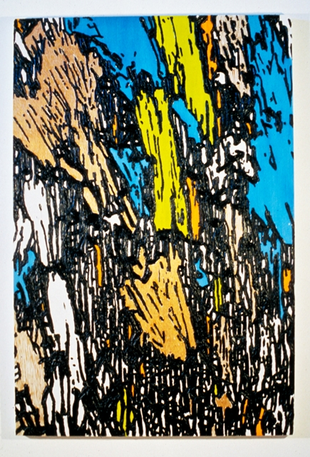 "Mix Translation 2, 1999- 2000: oil on acrylic on wood panel with carved elements, 72""(h) x 48""(w)"