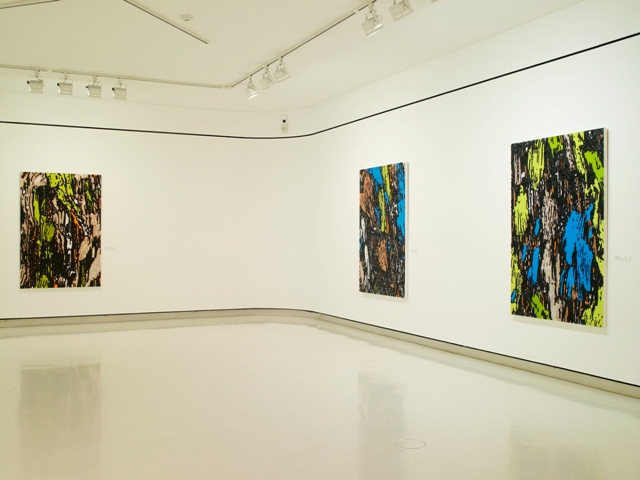 "Mix Translations, 1999- 2000: installation view at UB Anderson Gallery, Buffalo, NY, 2007. All works oil on acrylic on panel with carved elements, 72""(h) x 48""(w)"