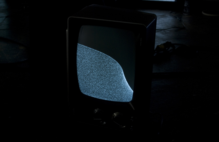 Snow Drift, 2009, 2011: black and white CRT consoles with rare earth magnets. Installation view at Open Ears Festival, Kitchener, Ontario