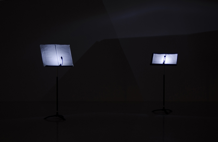Requiem for a Glacier, installation view of scores, at Galerie des Arts Visuels, Université Laval, Quebec City, Quebec