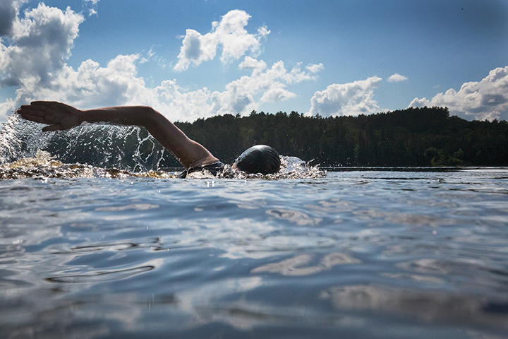Tom Thomson Centennial Swim event documentation Site and temporally specific performance, Canoe Lake, Algonquin Park, July 8, 2017