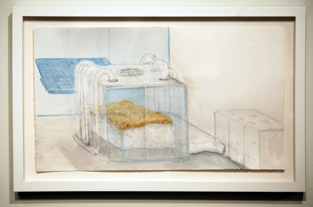 Permafrost Concept Drawing with Exterior Cooling Unit, 2006: watercolour and graphite on paper.