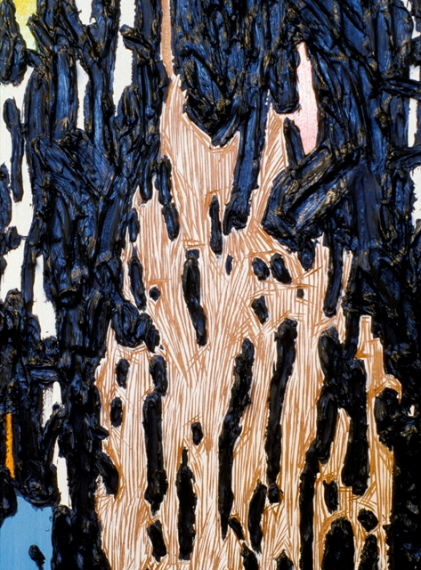 "Mix Translation 1 (detail), 1999- 2000: oil on acrylic on wood panel with carved elements, 72""(h) x 48""(w)"