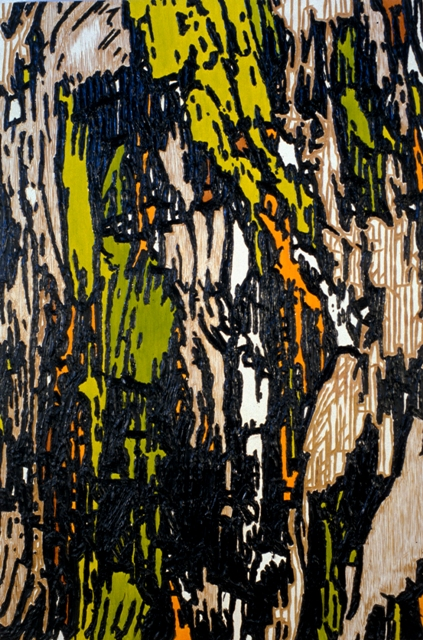 "Mix Translation 3, 1999- 2000: oil on acrylic on wood panel with carved elements, 72""(h) x 48""(w)"