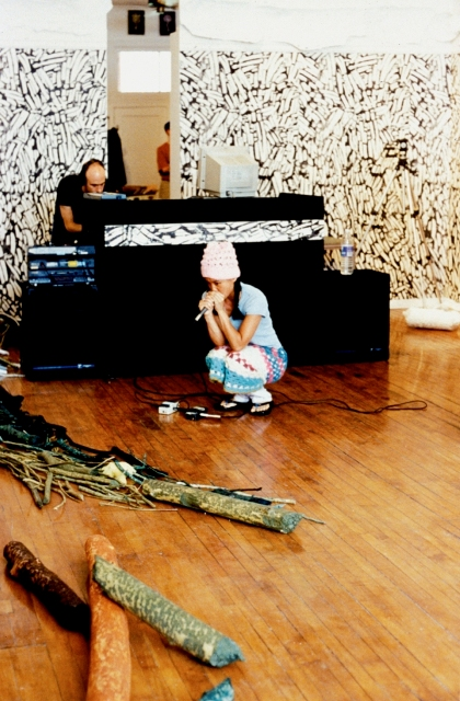 Northern Symphony Endless Remixes, 2000- ongoing, performance still of improvisation by Sook-Yin Lee and Terence Dick.