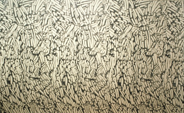 Northern Symphony, 2000- 2010, relief printed wallpaper based on detail of feild print of beaver gnawed wood.