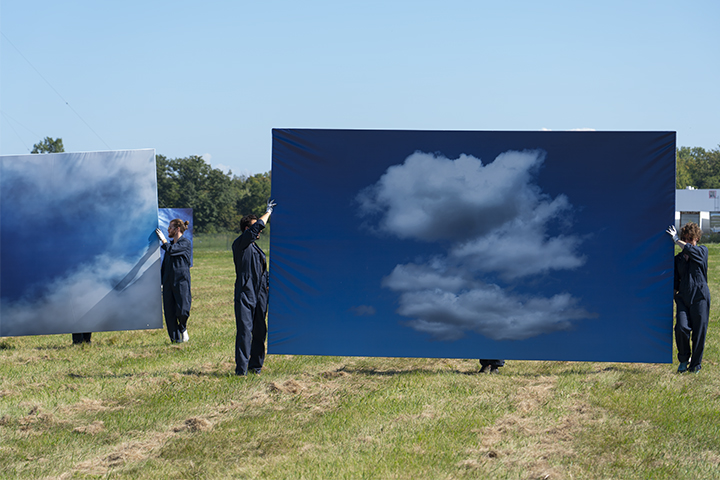 Moving Image Work No.1: Of Weather, installation with performative activation, commissioned for the exhibition Work of Wind, 8 stretched photographic prints, each 8'(h)x14'(w), 2018