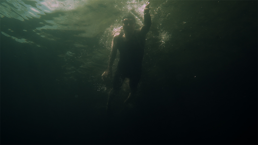 Tom Thomson Centennial Swim, production still from 4k single channel video installation, 2019